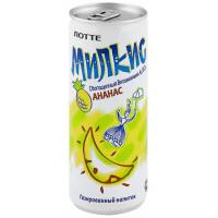 Напиток Лотте Милкис ананас газированный 250мл ж/б