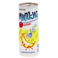 Напиток Лотте Милкис яблоко газированный 250мл ж/б