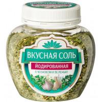 Соль вкусная йодированная с чесноком и зеленью 380г