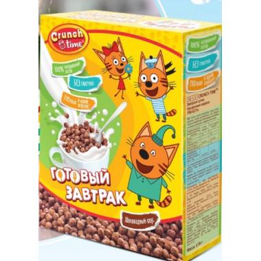 Завтрак сухой Кранч Тайм Три кота кукурузные шарики шоколадный вкус 170г