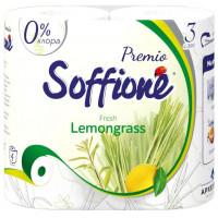 Бумага туалетная Соффиони Премиум Фреш лемонграсс 3-х слойная 4 рулона