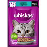 Корм для кошек Вискас желе с говядиной кролик 75г