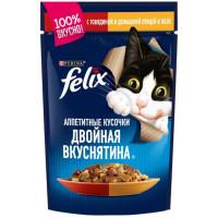 Корм для кошек Феликс с говядиной и птицей в желе 85г