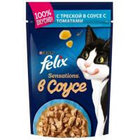 Корм для кошек Феликс Сенсейшен в удивительном соусе треска томат 85г