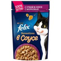 Корм для кошек Феликс Сенсейшен в удивительном соусе утка морковь 85г