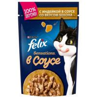Корм для кошек Феликс Сенсейшен в удивительном соусе индейка бекон 85г
