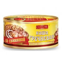 Каша Совок гречневая с свининой 325г ж/б ключ