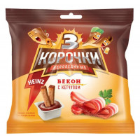 Сухарики ржаные Три корочки бекон+кетчуп Хаинц 60гр