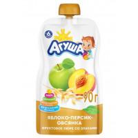 Пюре Агуша яблоко-персик-овсянка со злаками с 6мес. 90г
