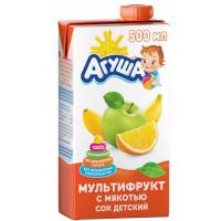 Сок Агуша мультифрукт с мякотью 500мл