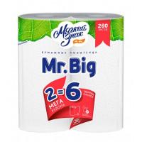 Полотенца бумажные Мягкий знак Мистер Биг белые 2-х слойные 2 рулона