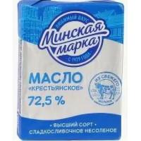 Масло Минская марка Крестьянское сладкосливочное несоленое 72,5% 180г