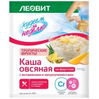 Каша Леовит Худеем за неделю овсяная тропические фрукты на фруктозе 40г