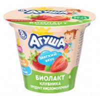 Биолакт Агуша кисломолочный Клубника 3% 90г