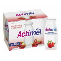Напиток кисломолочный Актимель земляника шиповник 1,5% 100г