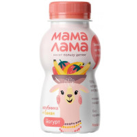 Йогурт Мама Лама питьевой с клубникой и бананом 2,5% 200г