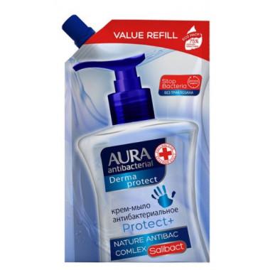 Крем-мыло Аура антибактериальное жидкое 500мл дой-пак
