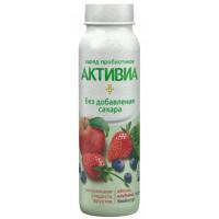 Био-йогурт Активиа питьевой обогащенный яблоко клубника черника 2,0% 260г бут
