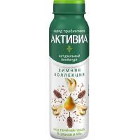 Био-йогурт Активиа питьевой обогащенный груша 5 злаков семена льна 2,1% 260г бут