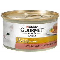 Корм для кошек Гурме Голд с уткой в паштете морковь шпинат по-французски 85г ж/б