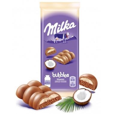 Шоколад Милка бабблс пористый с кокосом 97г