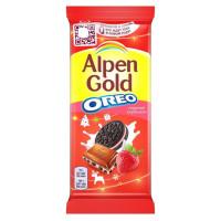 Шоколад Альпен Гольд Орео молочный клубника и кусочки печенья 95г