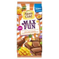 Шоколад Альпен Гольд МаксФан молочный с фруктово-ягодными кусочками со вкусом манго 150г