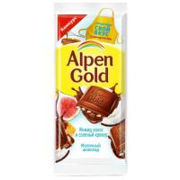 Шоколад Альпен Гольд молочный кокос, инжир и соленый крекер 85г