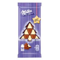 Шоколад Милка молочный с белым шоколадом в виде елочек 100г