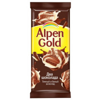 Шоколад Альпен Гольд два шоколада темный и белый 85г