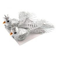 Украшение 82241 Феникс Птички серебряные на клипсе 2шт 3*14*3см
