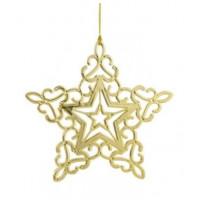 Украшение 81963 Феникс Звездная снежинка в золоте подвесное 11*11*0,2см