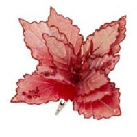 Украшение 81692 Феникс Красный блестящий цветок 28*28*16см