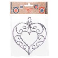 Украшение 77933 Феникс Сердце серебряное подвесное